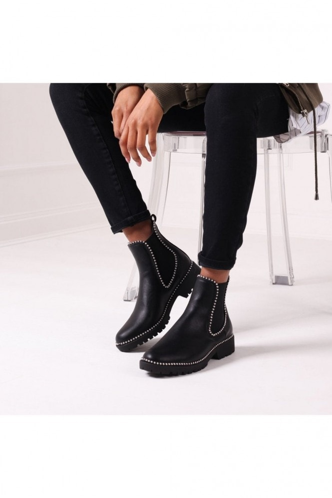 Linzi RULE - Black Nappa Classic Chelsea Boot With Silver Studded Detail