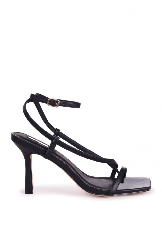 Linzi CARNABY - Black Nappa Strappy Square Toe Heel With Toe Post