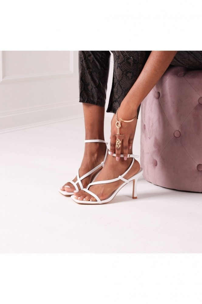 Linzi CARNABY - White Nappa Strappy Square Toe Heel With Toe Post