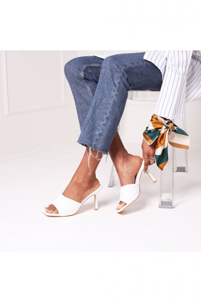 Linzi SICILY - White Nappa Square Toe Heel With Quilted Front Strap