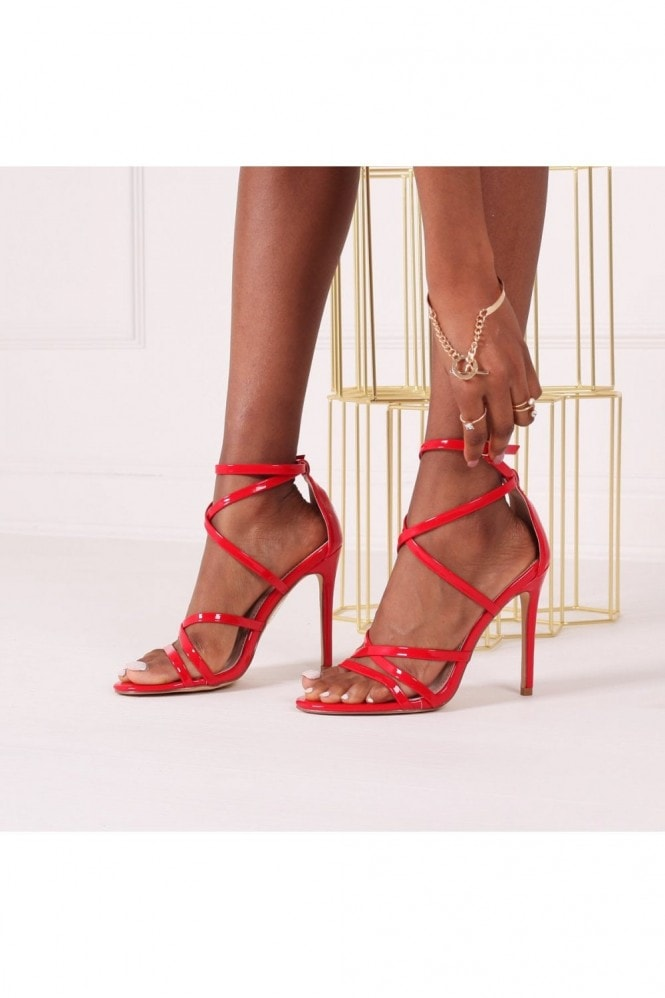 Linzi JENNIFER - Dark Red Patent Strappy Stiletto Heel With Ankle Strap