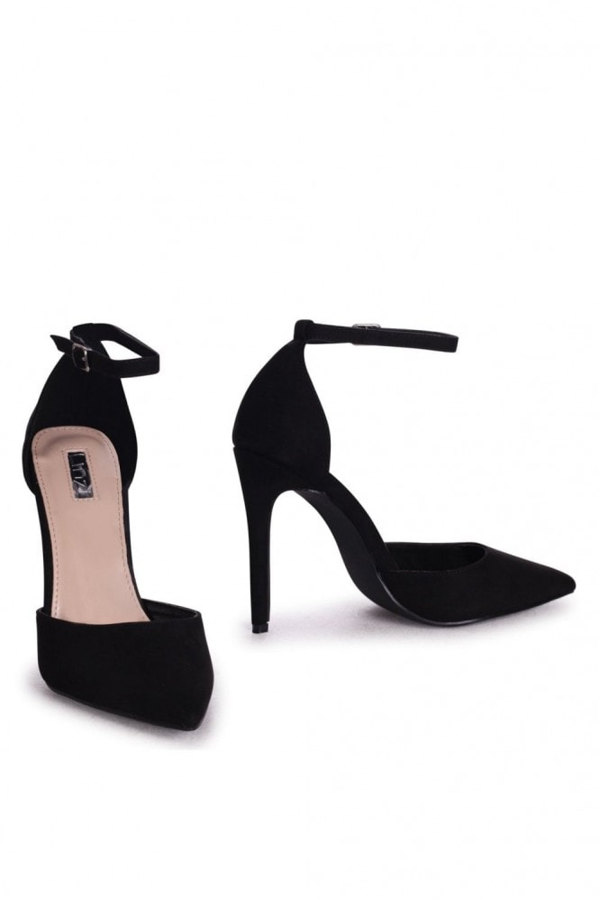 Linzi WHITNEY - Black Suede Court Heel With Ankle Strap