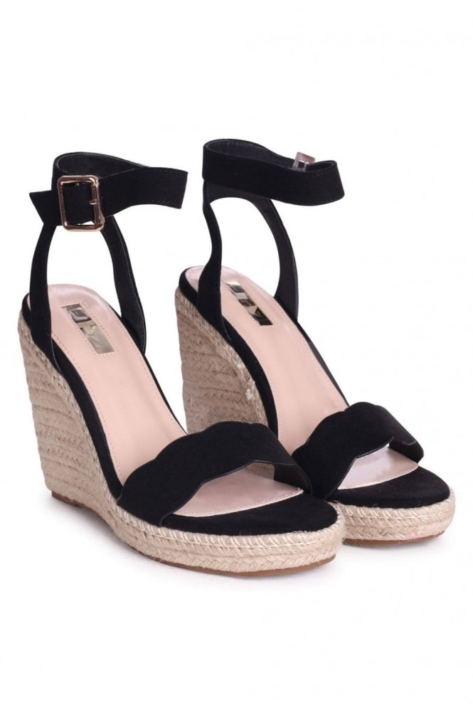 Linzi MARS - Black Suede Rope Platform Wedge With Wavey Front Strap