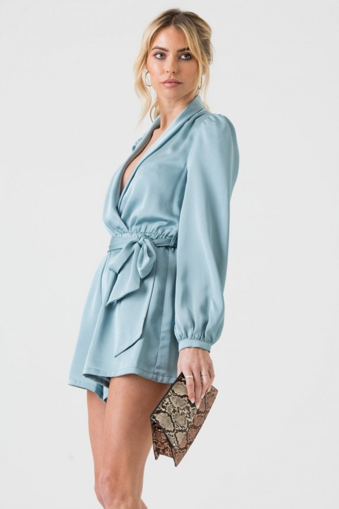 LIENA Satin Wrap Playsuit with Tie in Duck Egg Blue