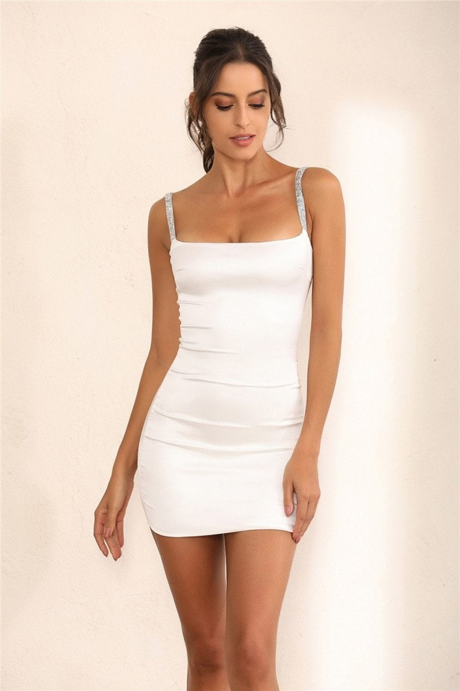 Miss Floral White Satin Bodycon Mini Dress With Shimmer Embellishments