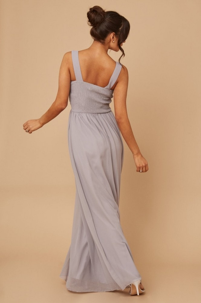 Little Mistress Bridesmaid Grace Grey Embellished Neck Maxi Dress