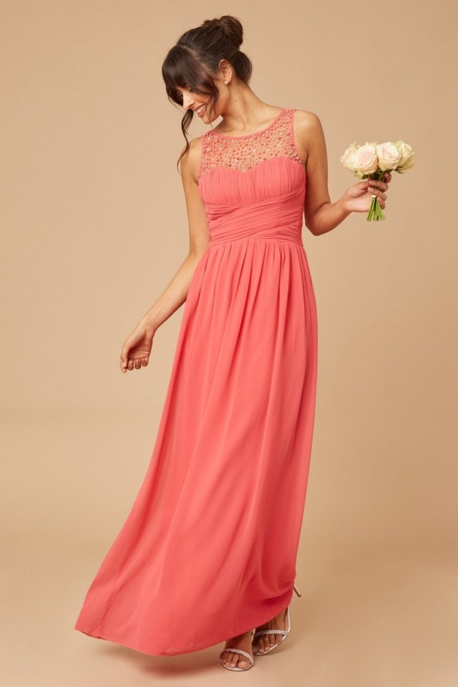 Little Mistress Grace Coral Embellished Neck Maxi Dress