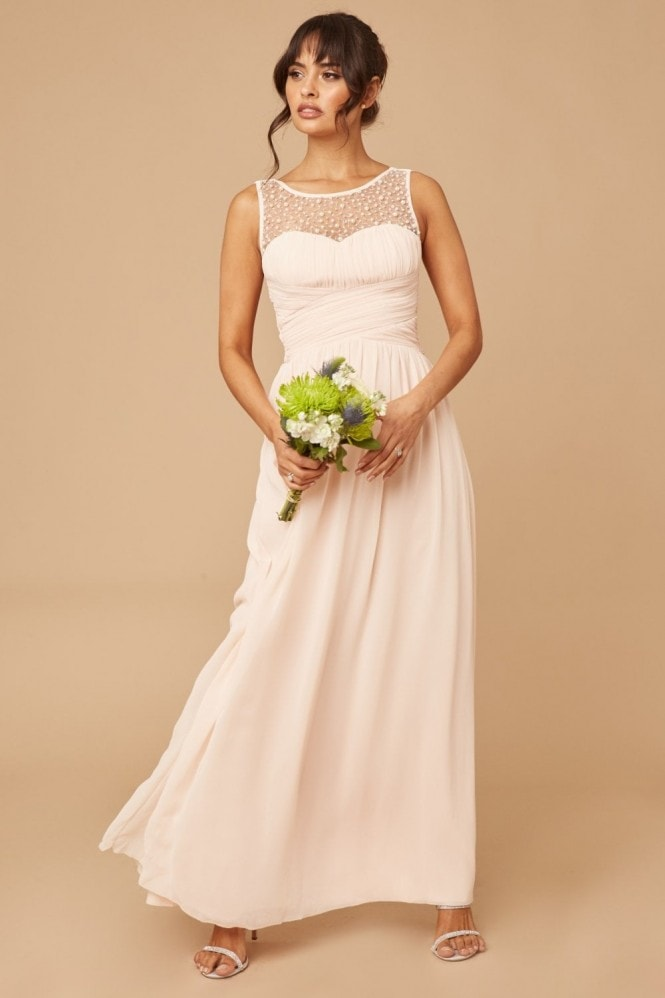 Little Mistress Bridesmaid Grace Nude Embellished Neck Maxi Dress