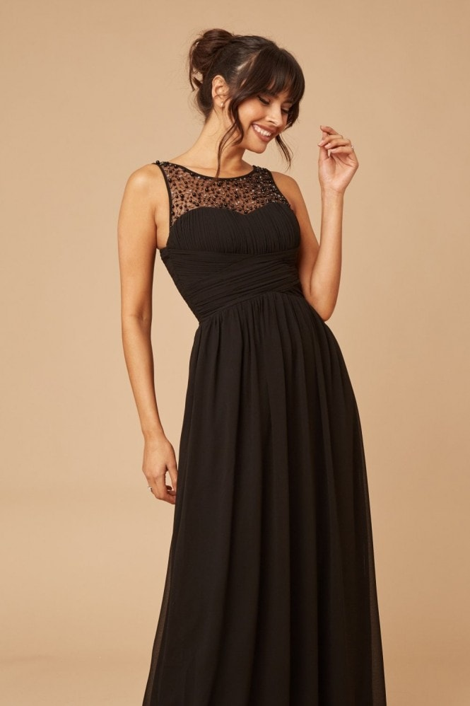 Little Mistress Grace Black Embellished Neck Maxi Dress