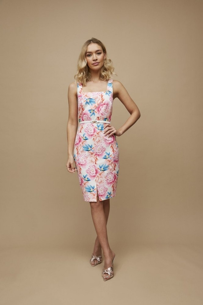 Aki Peony Floral-Print Square-Neck Belted Dress