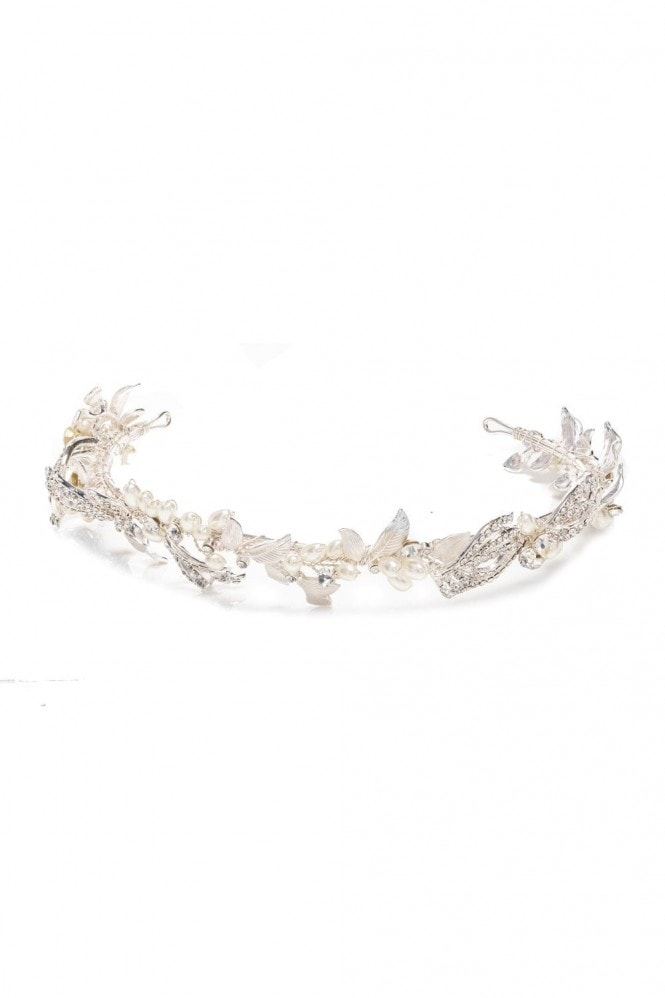Jon Richard Jewellery Silver, Pave, Feather, And, Pearl, Delilah, Tiara