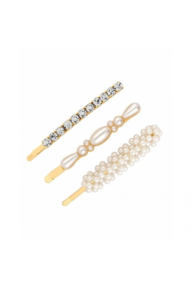 Jon Richard Jewellery Gold, Plated, Crystal, And, Pearl, Mixed, 3, Pack, Clips