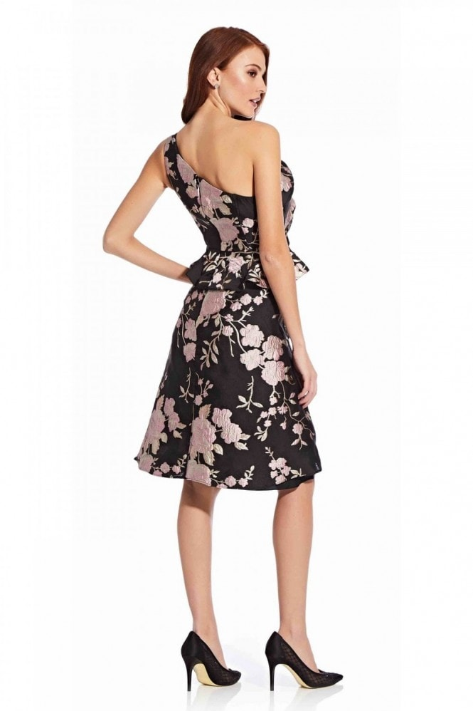 Adrianna Papell One Shoulder Jacquard Dress