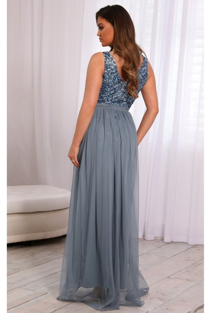 Sistaglam YASMIN DUSKY BLUE SEQUIN V NECK DETAILED TOP TIERED BRIDESMAID DRESS