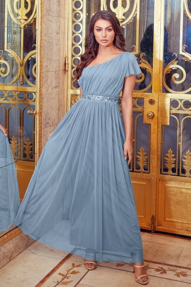 Sistaglam MARIAH BLUE ONE SHOULDER SEQUIN BELT MAXI DRESS