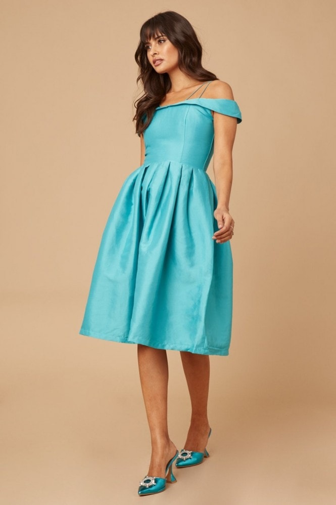 Girls on Film Teal Bardot Prom Dress With Overlay