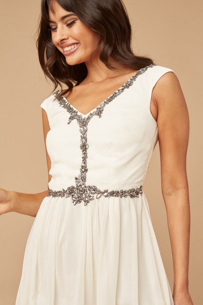 Little Mistress Cream Jewel Front Mini Dress