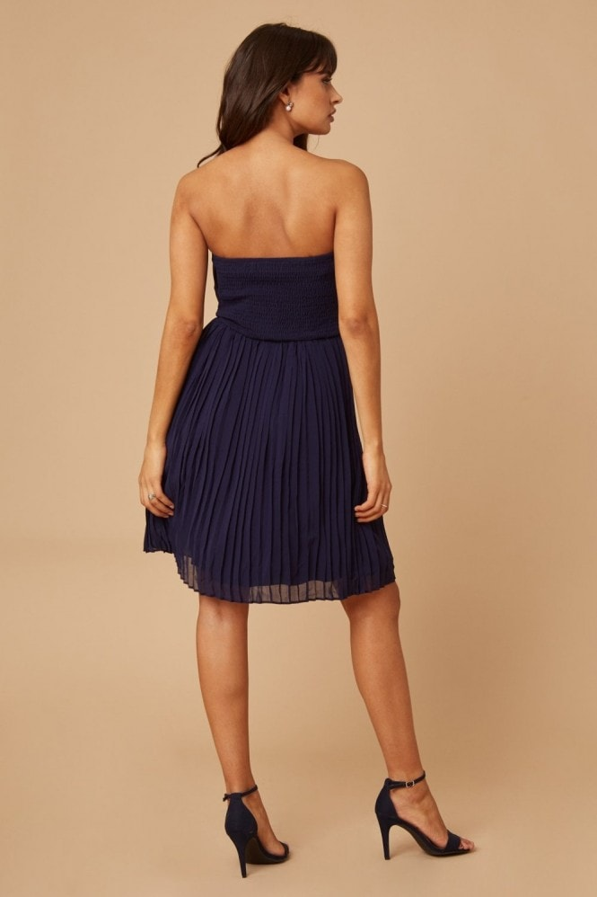Little Mistress Navy Pleated Prom Dress