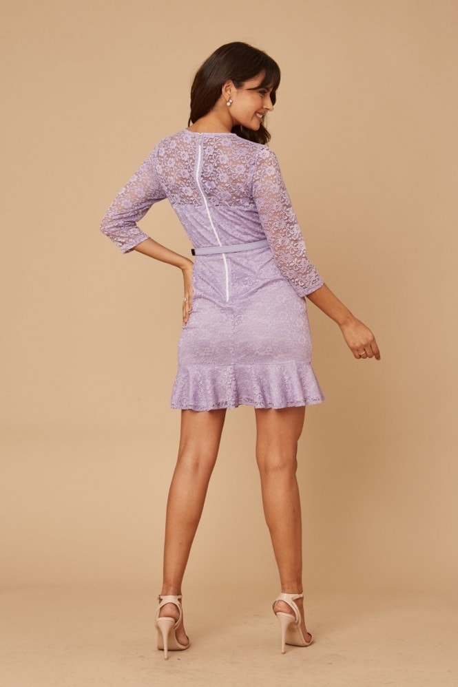 Paper Dolls Darcey Purple Lace Belted Peplum Mini Dress