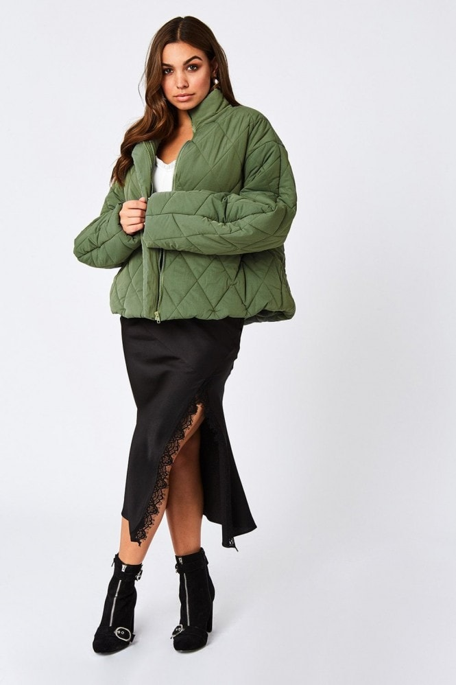 Girls on Film Bounty Fern Green Quilted Puffer Jacket