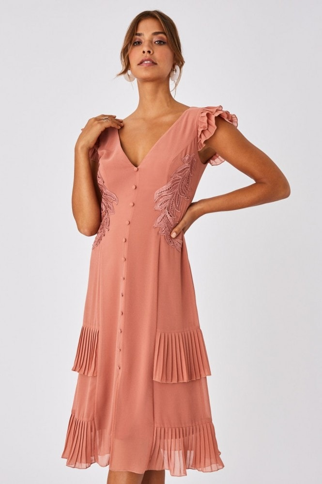 Little Mistress Ada Rose Gold Applique And Frill Midi Dress