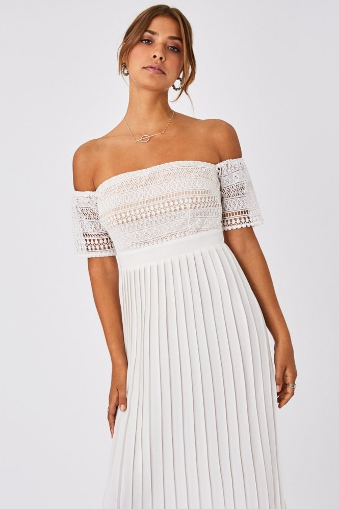 Little Mistress Ellen Optic White Crochet Lace Bardot Midaxi Dress