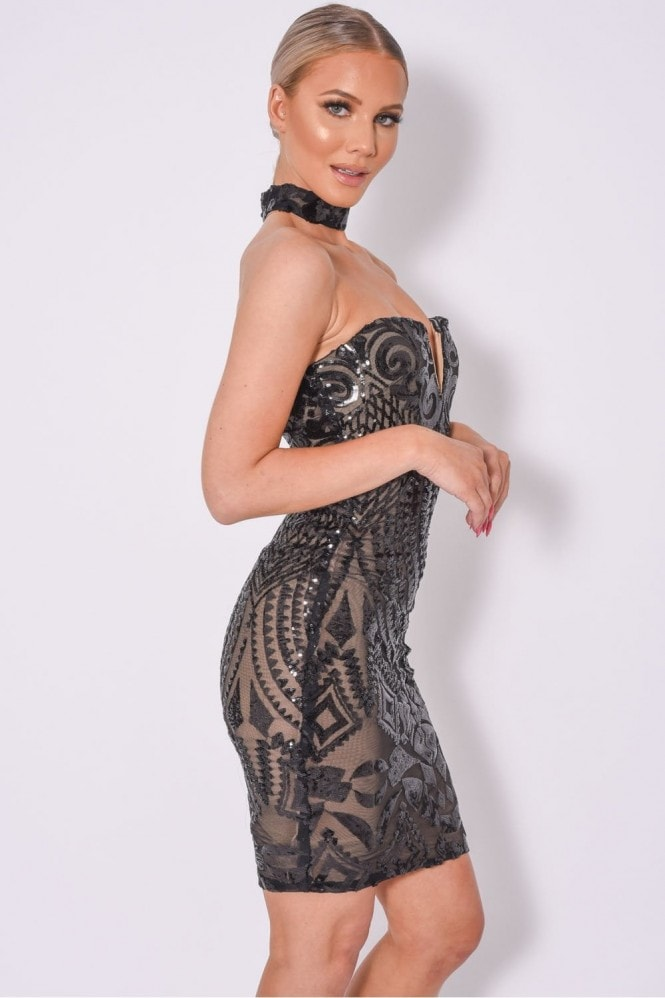 NAZZ COLLECTION APHRODITE LUXE SWEETHEART PLUNGE SEQUIN EMBELLISHED DRESS