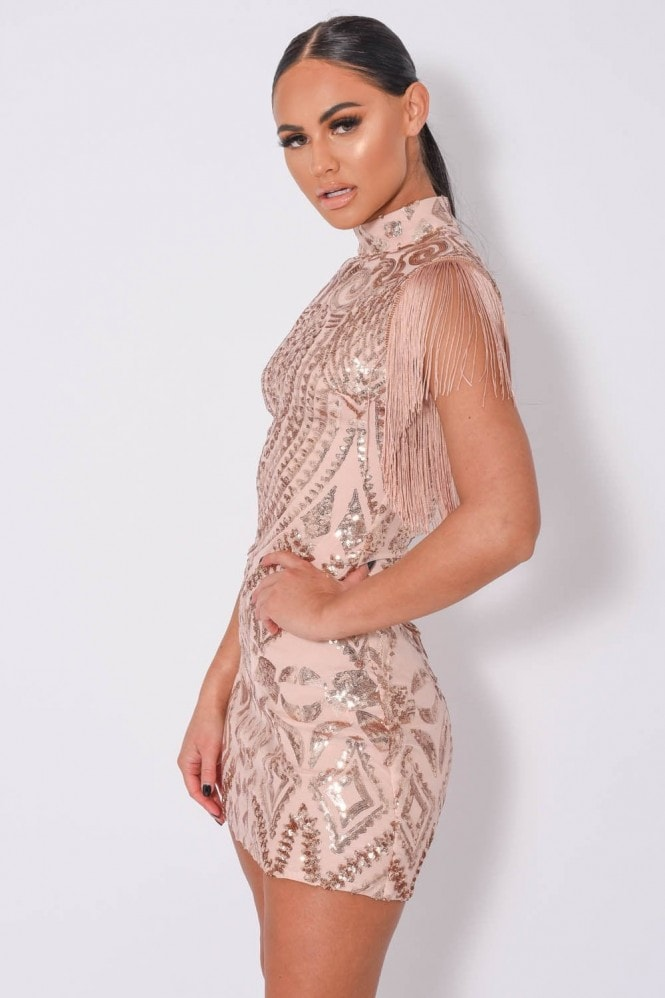 NAZZ COLLECTION KYLIE LUXE TASSEL SEQUIN EMBELLISHED DRESS
