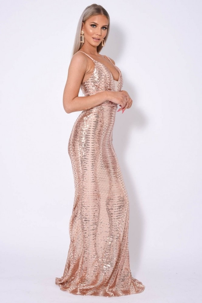 NAZZ COLLECTION VIRGO PLUNGE CAGE BANDAGE ILLUSION SEQUIN MAXI FISHTAIL DRESS