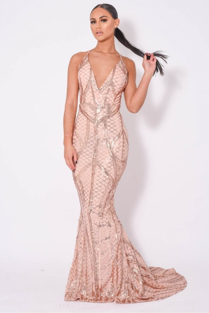 NAZZ COLLECTION LAST DANCE PLUNGE CAGE BANDAGE ILLUSION SEQUIN MAXI FISHTAIL DRESS