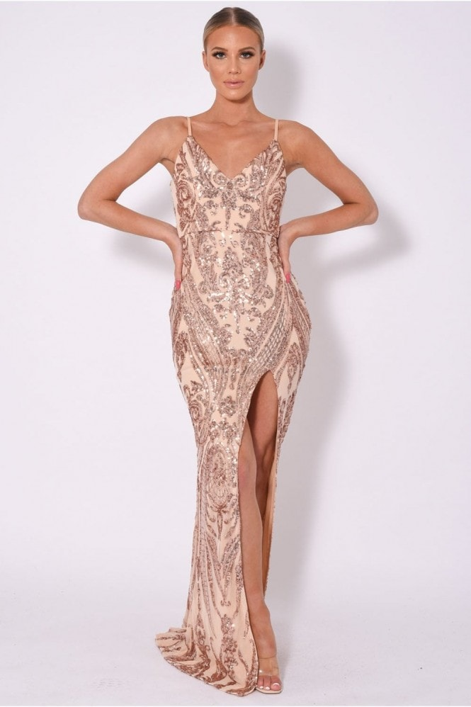 NAZZ COLLECTION OUTSHINE VIP EMBELLISHED ILLUSION SEQUIN SLIT MAXI DRESS