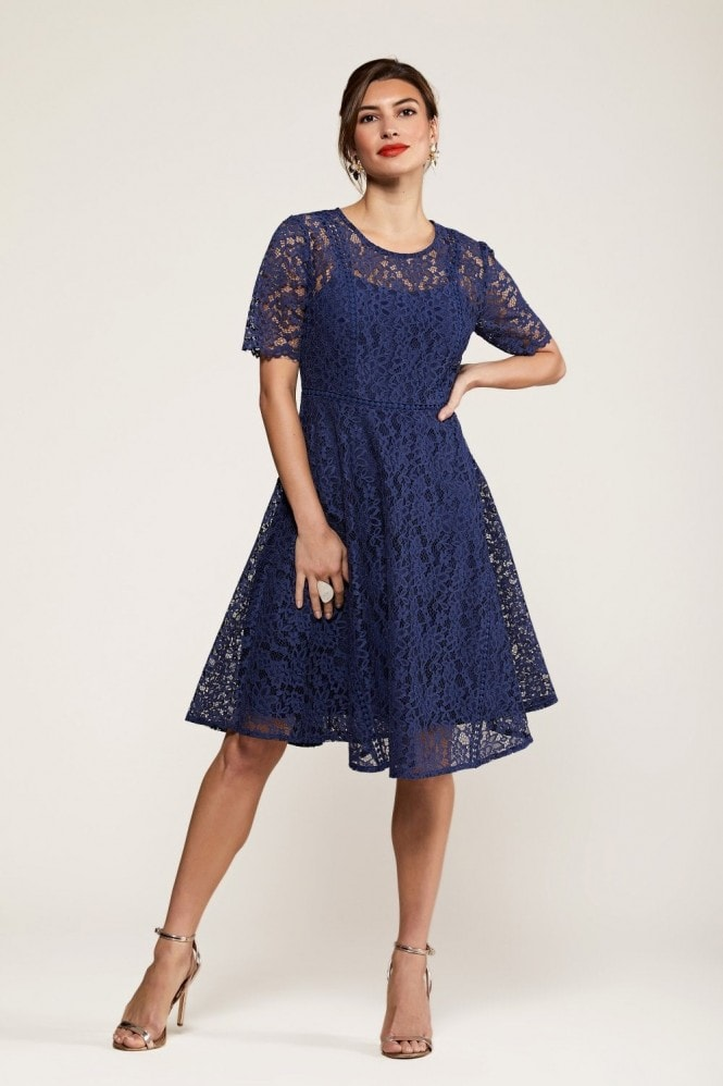 YUMI Fit And Flare Navy Lace Dress With Lace