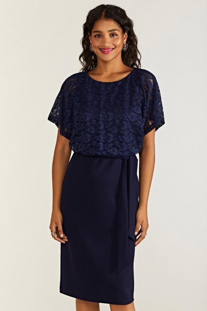 YUMI Navy Lace And Ponte Dress With Kimono S