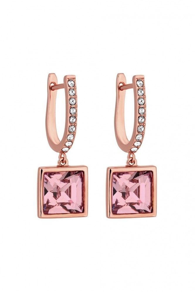 Jon Richard Jewellery Jon Richard made with Swarovski® crystals Rose Gold Plated Pink Square Drop Earrings