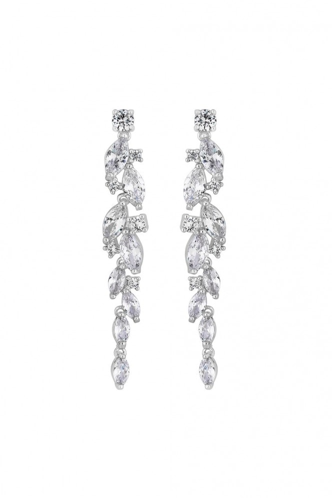 Jon Richard Jewellery Jon Richard Rhodium Plated Clear Navette Charlotte Drop Earring