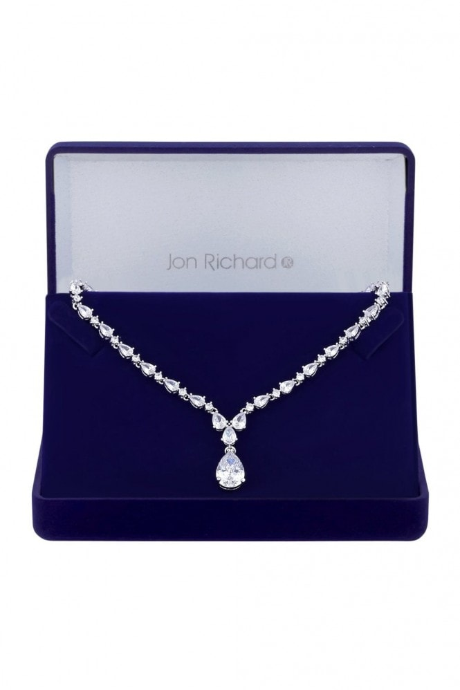 Jon Richard Jewellery Jon Richard Rhodium Plated Clear Cubic Zirconia Graduated Pear Y Drop Short Pendant Necklace