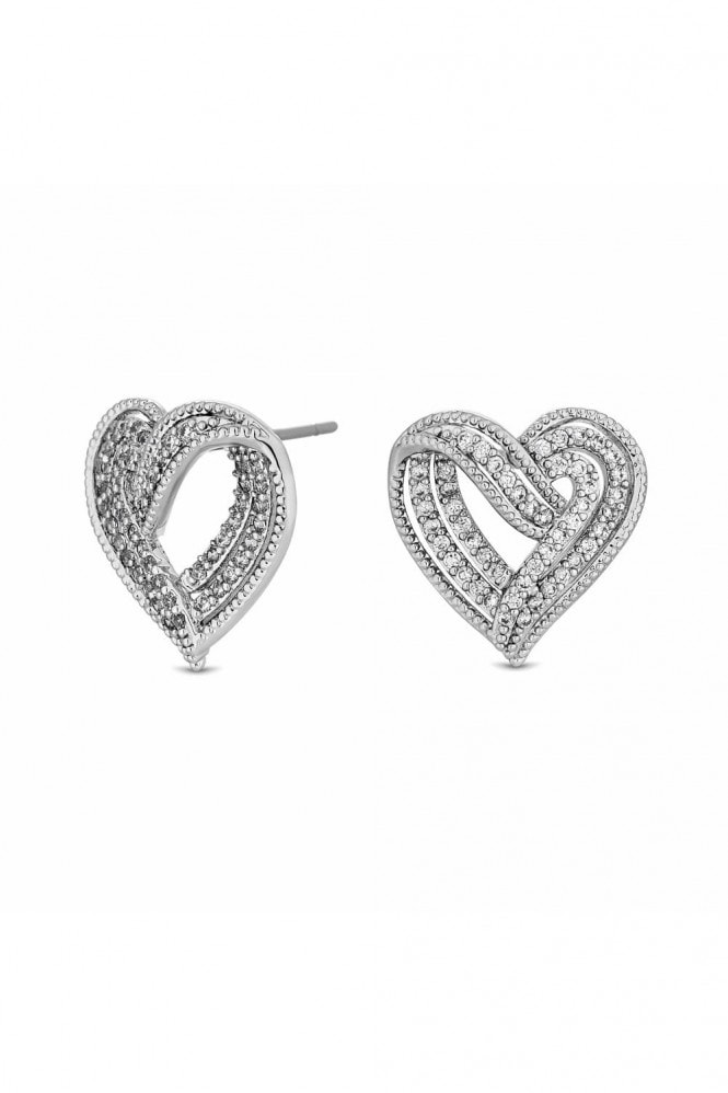 Jon Richard Jewellery Jon Richard Rhodium Plated Clear Cubic Zirconia Heart Stud Earring