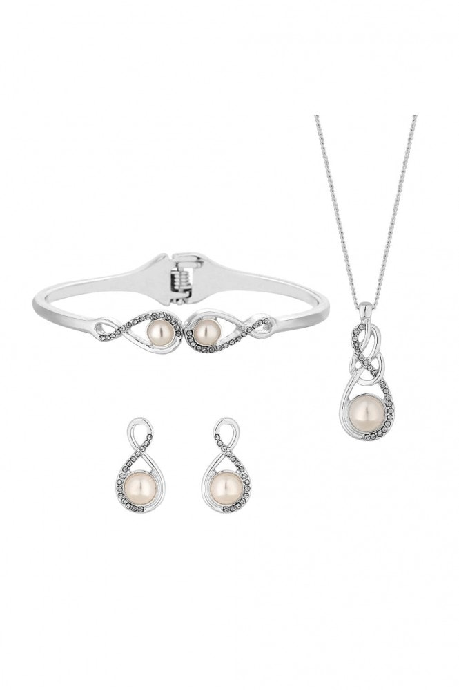 Jon Richard Jewellery Jon Richard Silver Plated Clear Crystal Infinity Set- Gift Boxed