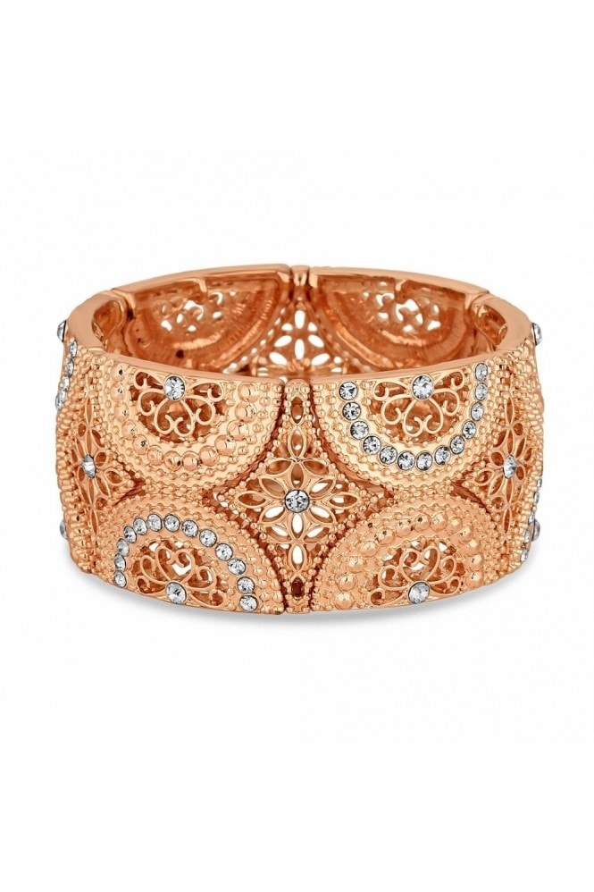 Jon Richard Jewellery MOOD - By Jon RichardROSE GOLD PLATED FILIGREE STRETCH BRACELET