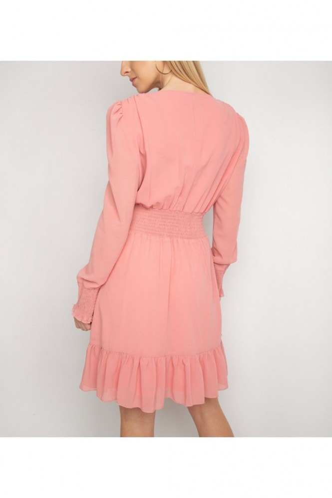 Gini London Pink Frill Shirred Waist Dress