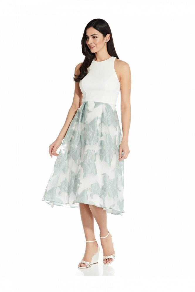 Adrianna Papell Organza Jacquard Combo Dress