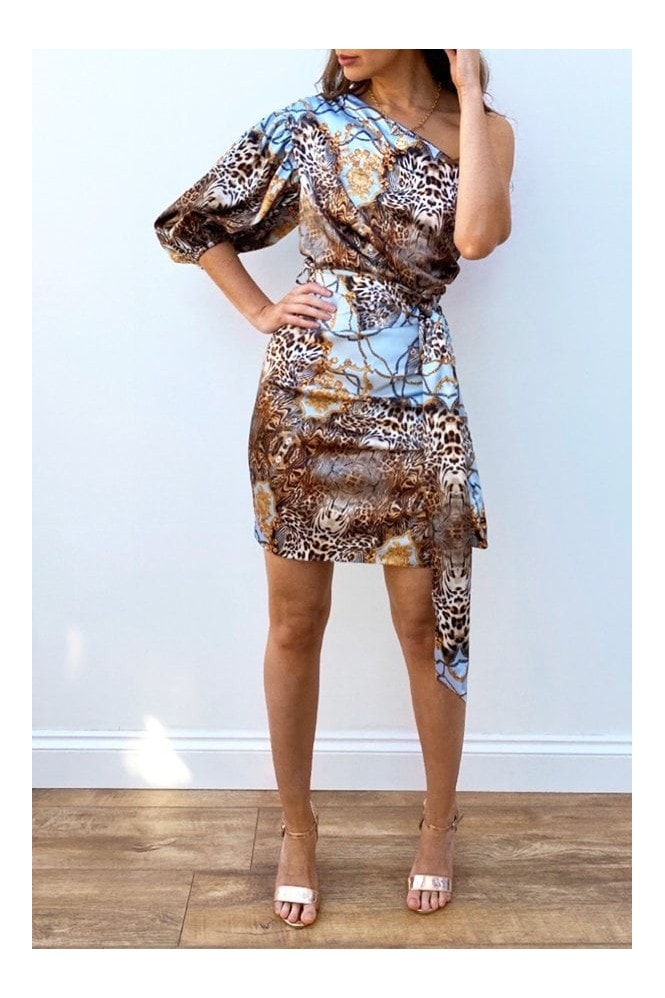 Steffy Animal-Print Satin One-Shoulder Dress