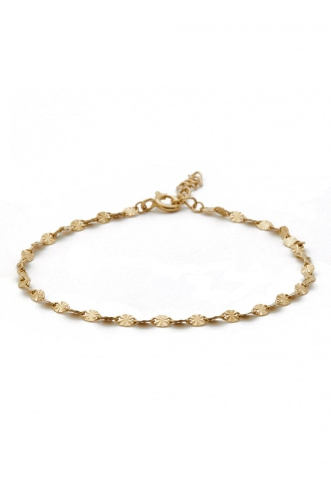 Simply Silver Sterling Silver 14ct Yellow Gold D/C Cut Station Bracelet