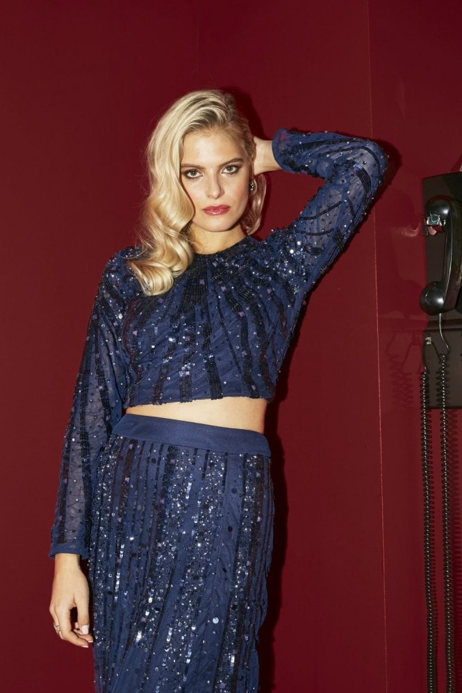 Little Mistress Shay Navy Linear Embellished Sequin Top Co-ord