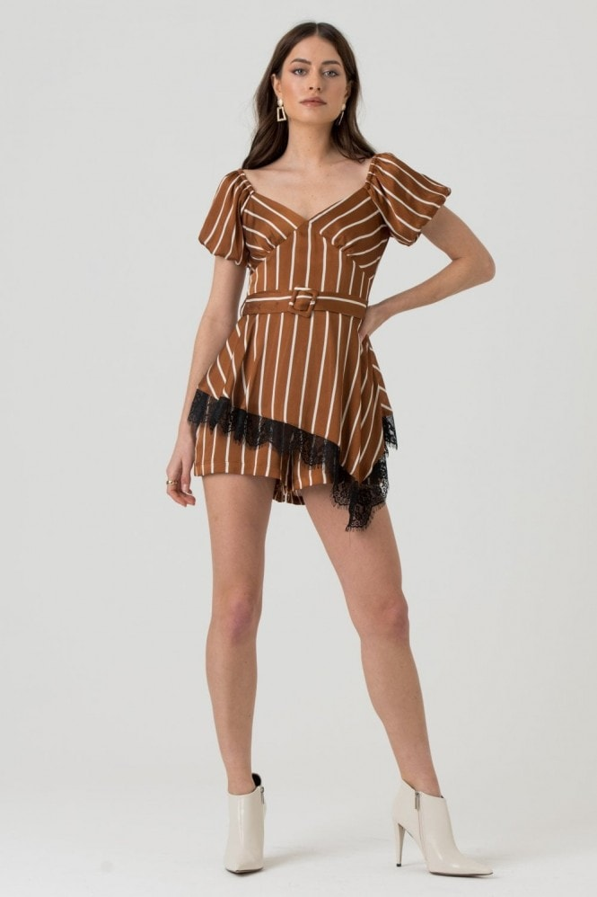 LIENA Playsuit with Lace Trim Peplum in Brown White Stripe
