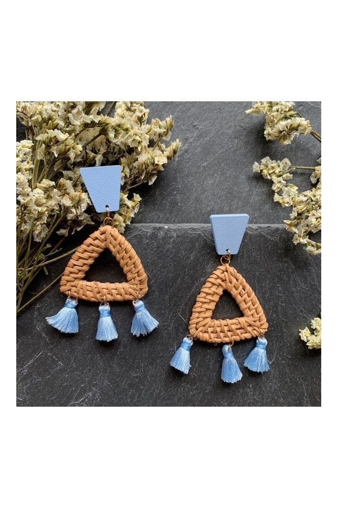Xander Kostroma Natural Rattan Statement Tassel Earrings - Baby Blue
