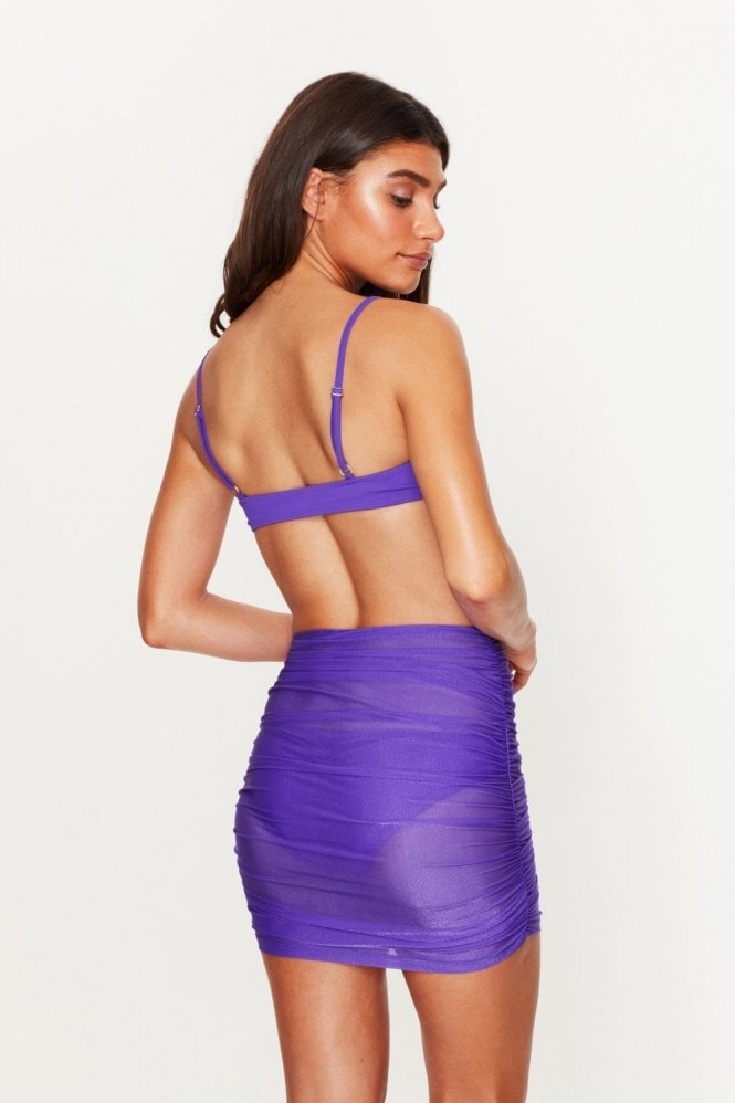 Toria Tonia Ruched Beach Skirt Violet