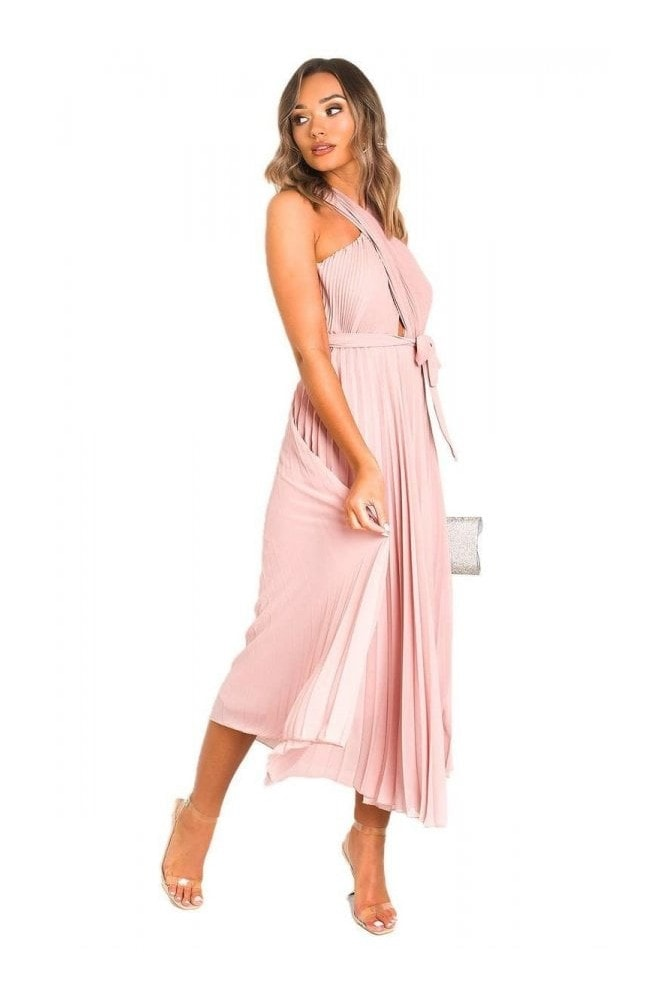 IKRUSH Ryanna Pleated Crossover Maxi Dress