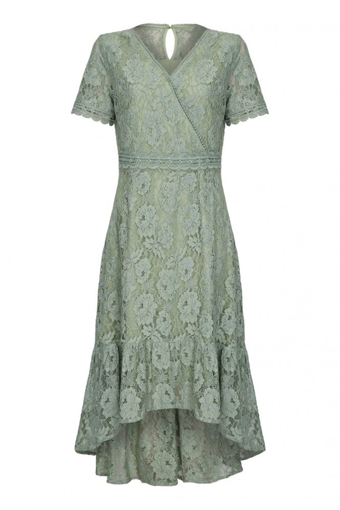 YUMI Lace Frill Dress With Lace Trim Detail