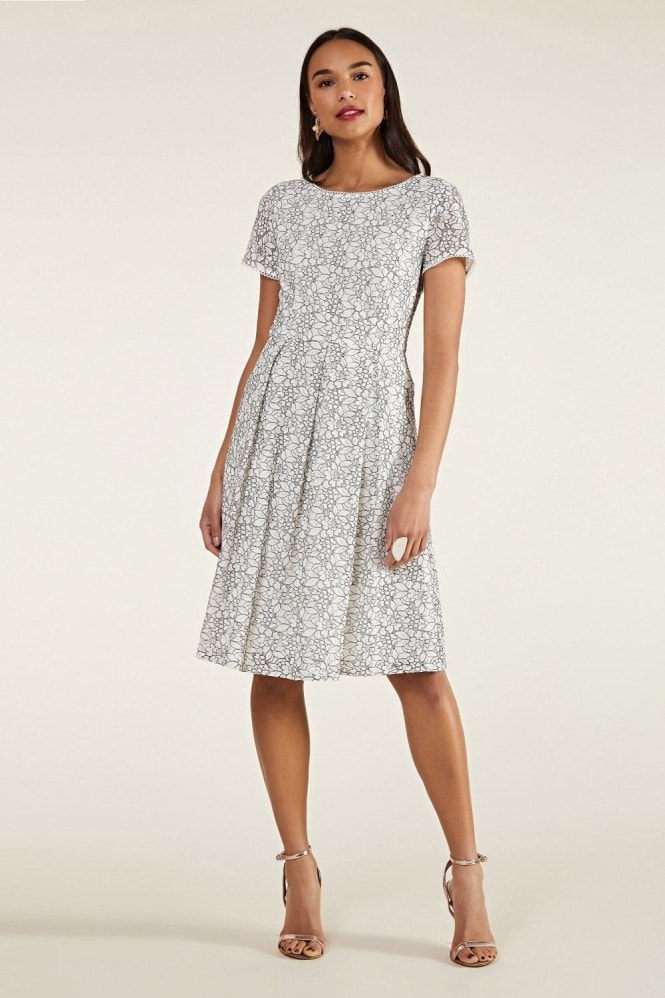 YUMI Flower Lace Fit And Flare Dress
